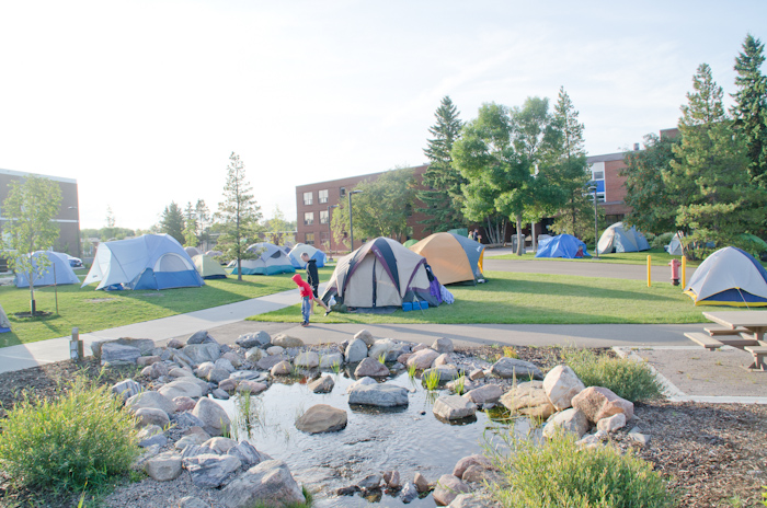Quaker Tents, spacious lawn at Camrose campus University of Alberta, 2012