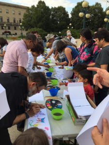 Decorating lanterns at Hiroshima Day