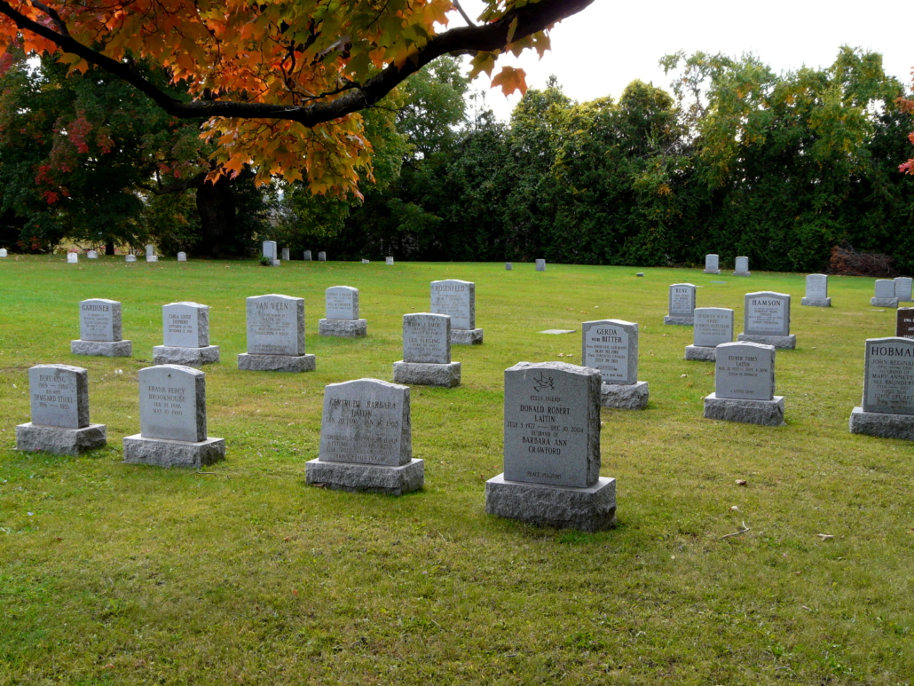 Headstones & lawn at the Yonge Street Friends Burial Ground